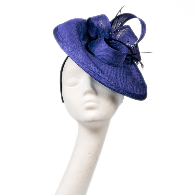 Emma saucer hat in electric blue from wendy louise designs