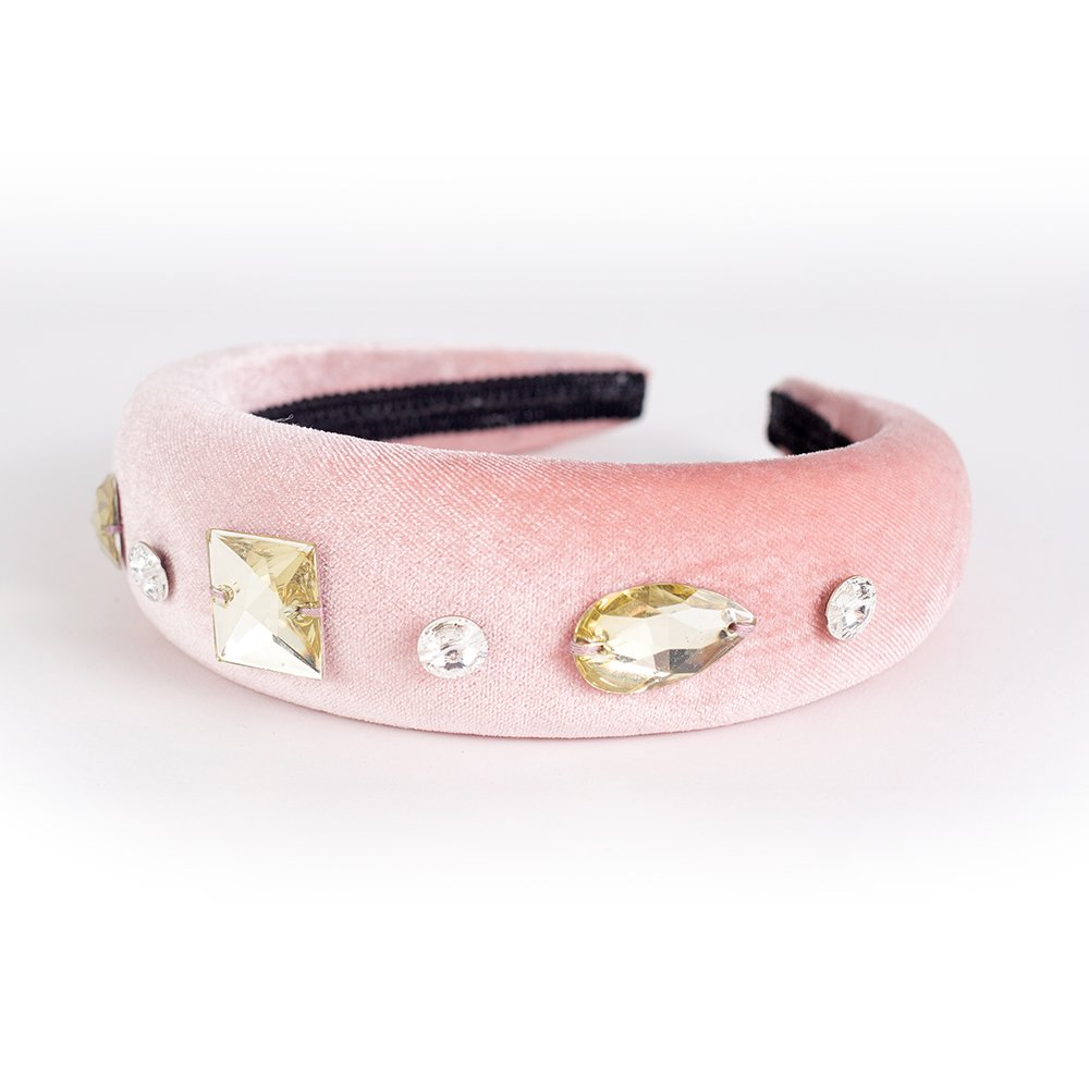 Velvet Crystal Bands - Baby Pink & Gold | Wendy Louise Designs