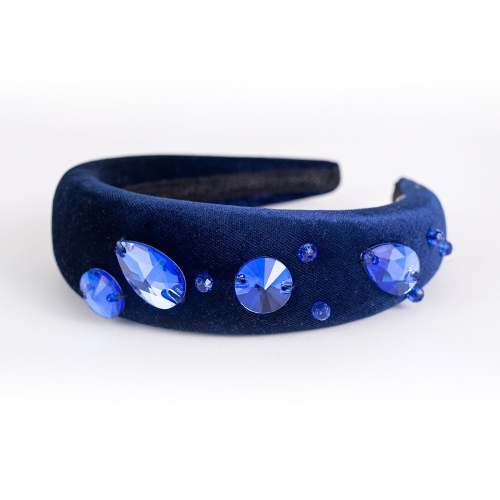Velvet Crystal Bands - Blue | Wendy Louise Designs