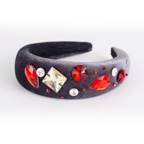 Velvet Crystal Bands - Grey & Red | Wendy Louise Designs